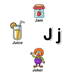alphabet letter j-jam juice joker vector image vector image