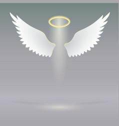 Angel wings on heavenly vector