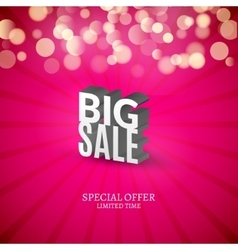 Big Sale 3d letters poster Promotional marketing vector image