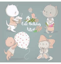 birthday set with cute kittens vector image vector image