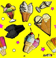 seamless pattern ice creame tasty vector image