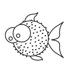 silhouette blowfish aquatic animal icon vector image