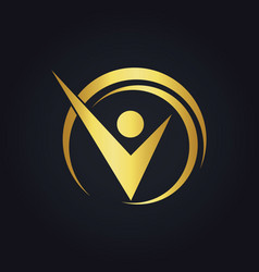 success business man happy gold logo vector image vector image