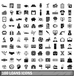 100 loans icons set simple style vector