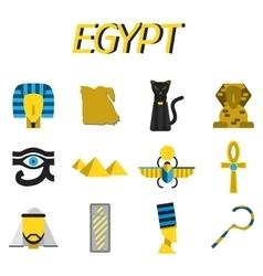Egypt flat icons set vector image