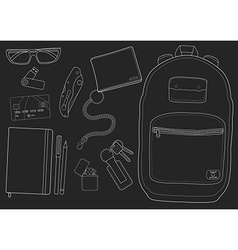 Every day carry man items chalkboard vector image