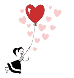 Girl holding the string of flying heart balloon vector image vector image