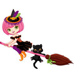 little witch on broom vector image vector image