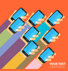 mobile apps concept flat design human hand with vector image