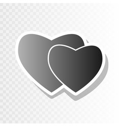 two hearts sign new year blackish icon on vector image