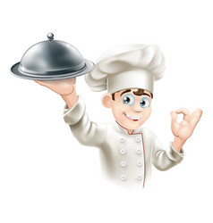 happy chef holding platter vector image vector image