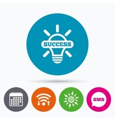 Light lamp sign icon Bulb with success symbol vector image vector image