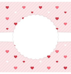 Pink template card with red hearts vector image
