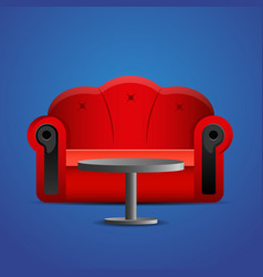 red sofa with table on blue background vector image