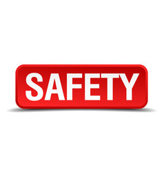 Safety red 3d square button isolated on white vector