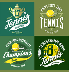 tennis ball and trophy or cup rack and court vector image