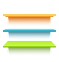 Three colorful realistic shelves vector image vector image