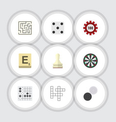 flat icon play set of chequer guess poker and vector image