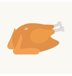 Fried turkey on the white background flat vector image