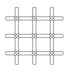 lattice in the cell of the prisoner a metal door vector image vector image