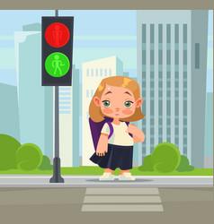 Little school girl crossing pedestrian vector