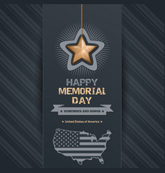 Poster for memorial day with map of the usa vector