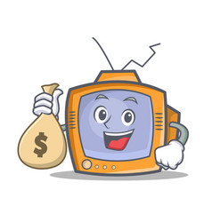 tv character cartoon object with money bag vector image vector image