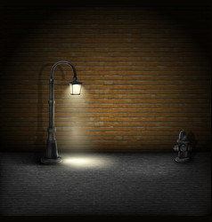 Vintage Streetlamp On Brick Wall Background vector image vector image