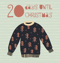 20 days until christmas vector image