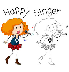 A singer character on white backgroud vector