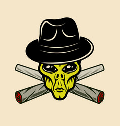 Alien head in hat and two weed joints vector
