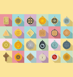 Amulet icons set flat china coin vector