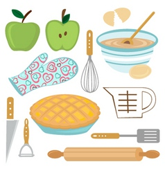 Apple pie preparation vector