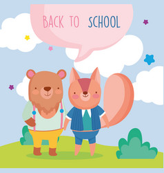 Back to school education cute squirrel and bear vector