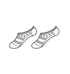 Black low engraved socks hand drawn ink drawing vector