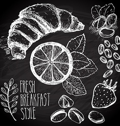 Breakfast sketched set vector