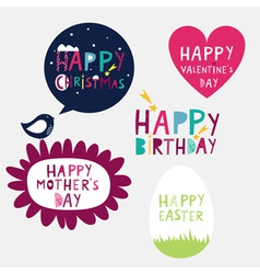 Bright congratulations on sticker holidays vector