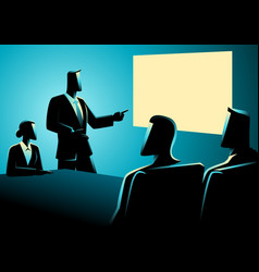 Business people having a meeting using projector vector