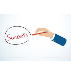 businessman hand writting success word vector image