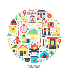 Camping flat infographics icons in circle - color vector