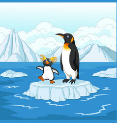 Cartoon penguin playing on ice floe vector