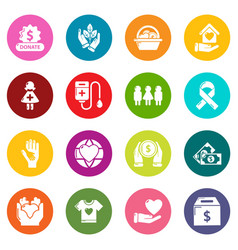 charity icons set colorful circles vector image