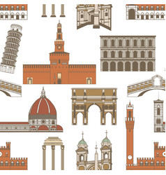 colored pattern with famous italian landmarks vector image