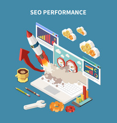 colored web seo isometric composition vector image