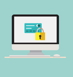 computer with lock and credit card icon vector image