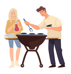 couple grilling meat man and woman cooking vector image