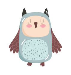 cute animals owl bird cartoon isolated icon design vector image