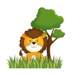 cute lion in landscape vector image