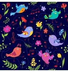 Cute spring musical birds seamless pattern blue vector image