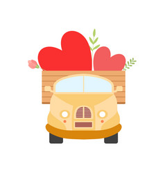 cute ul truck with hearts front view vector image